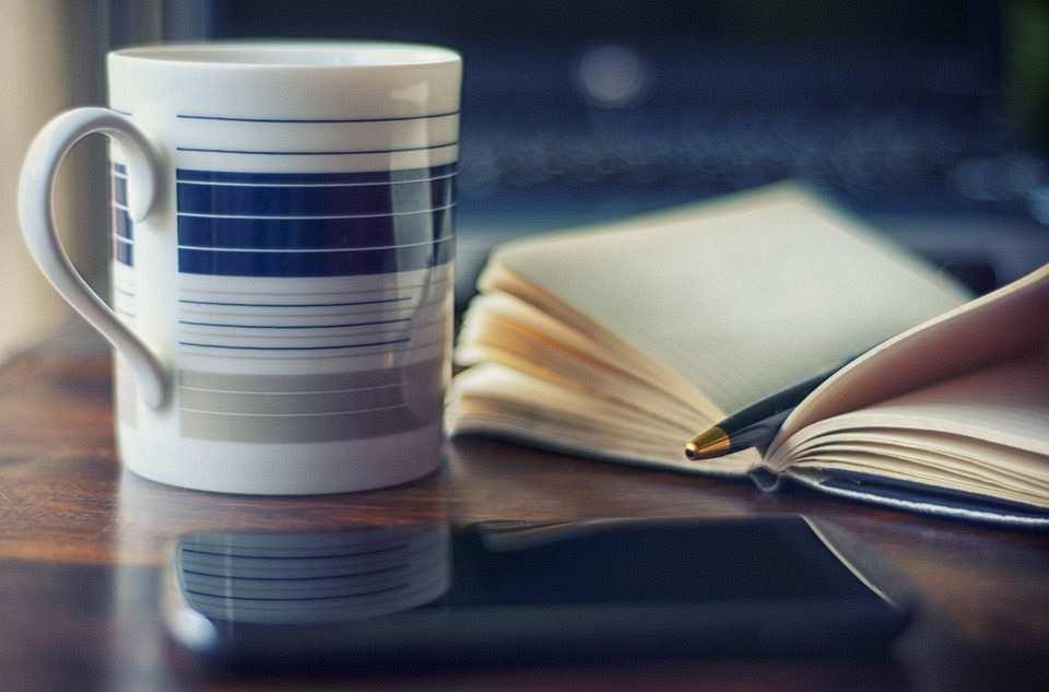 kahve fincanı ve defter