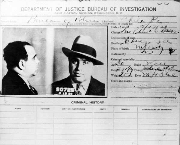 Al Capone arrest record card