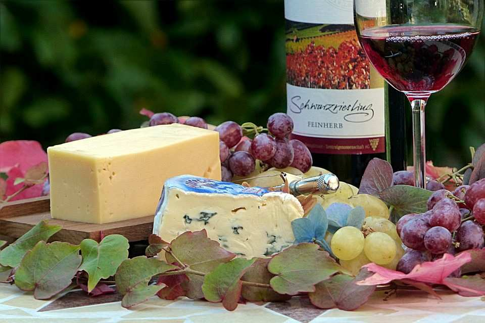 peynir tabağı ve şarap