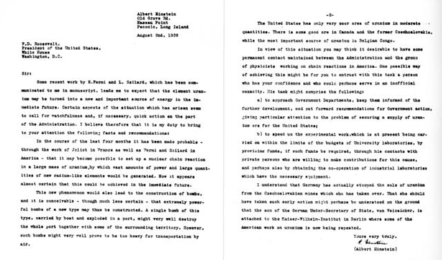 einstein roosevelt mektup