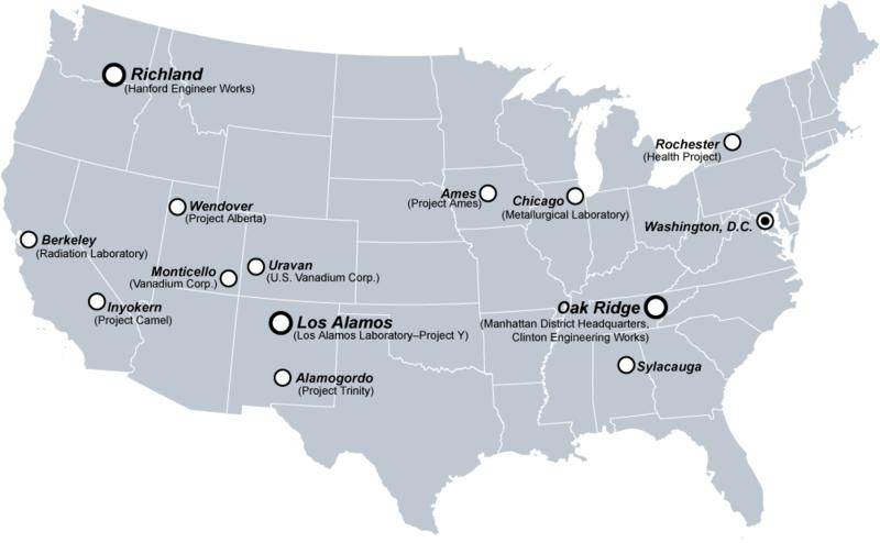 Manhattan Projesi Birleşik Devletler Genel Haritası