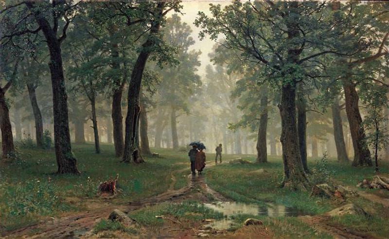 İvan İvanoviç Şişkin Meşe Ormanında Yağmur