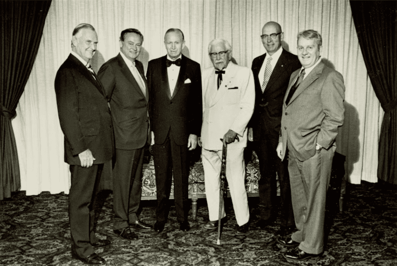 Patrick O'Malley (Canteen Corp.), Barron Hilton (Hilton Hotels), J. Willard Marriott (Marriott Corp.), Col. Harland Sanders (Kentucky Fried Chicken), Jim McLamore (Burger King), Kemmons Wilson (Holiday Inns), 1979