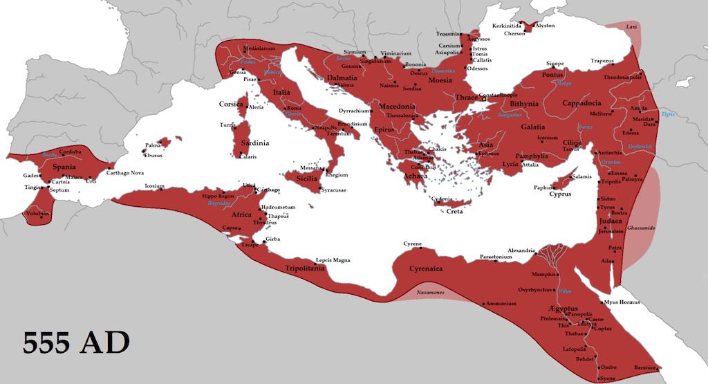 Bizans İmparatorluğu en geniş sınırlar
