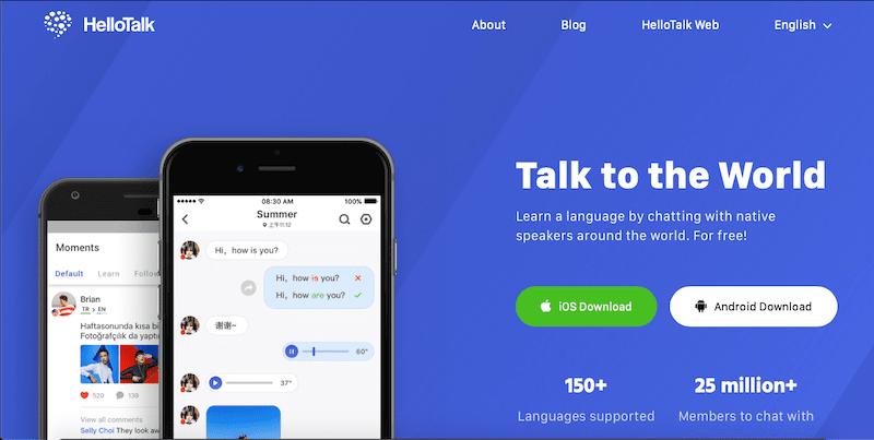 hello talk ücretsiz yabancı dil öğrenme uygulaması